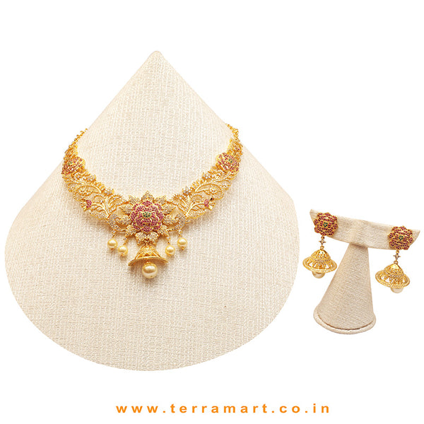 Terramart Jewellery - Grand Zircon Stone Necklace Set for Women / Girls ( White, Green, Pink & Gold )