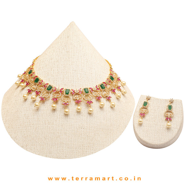 Terramart Jewellery - Zircon Stone Necklace Set for Girls / Women ( White, Green, Pink & Gold  )