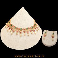 Beautiful White, Green, Pink, Gold color Floral Necklace set with Pearl - Terramart Jewellery