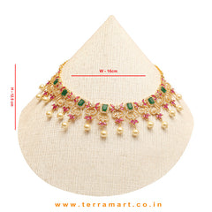 Beautiful White, Green, Pink color Floral Neckwear set with Pearl