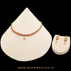 Mango designed White, Green, Pink, Gold color Necklace set with Pearl  - Terramart Jewellery