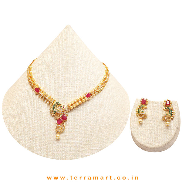 Terramart Jewellery - Beautifully Designed Peacock Necklace Set with Zircon Stone & Pearl  for  Women / Girls ( White, Green, Pink & Gold  )
