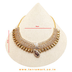 Gorgeous Choker White, Light Violet & Gold Necklace Set With Earrings - Terramart Jewellery