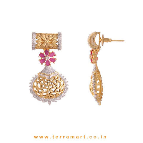 Terramart - Grand Zircon Stone Pendent Set for Women / Girls ( & Gold, Pink, White)
