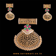Terramart - Grand Zircon Stone Pendent Set for Women / Girls (White, Pink, Green & Gold)
