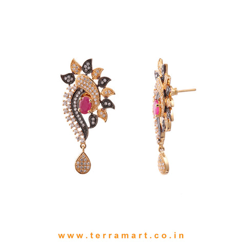 Terramart - Beatifully Designed Grand Dual Tone Zircon Stone Pendent Set for Girls / Women (White, Pink & Gold) Enamel Work