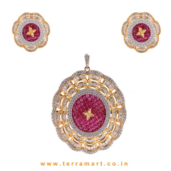 Terramart - Grand & Traditionally Designed Zircon Stone Pendent Set  for Girls / Women ( White, Pink, Gold)