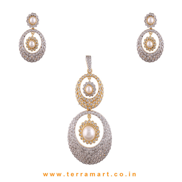 Terramart - Beatifully Designed Grand Dual Tone Zircon Stone Pendent Set With Pearl for Girls / Women (Gold & White)