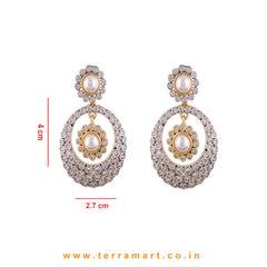 Alluring White & Gold  Zircon Stone Pendent Jewellry Set With Pearl - Terramart Jewellery