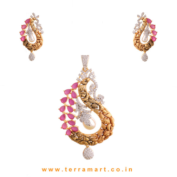 Terramart - Grand & Stylish Designed Zircon Stone Pendent Set with Pearl for Women / Girls (White, Pink & Gold)