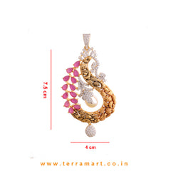 Appealing White & Pink Zircon Stone Pendent Set With Pearl