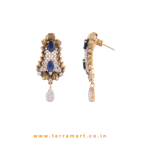 Terramart - Grand & Stylish Designed Zircon Stone Pendent Set for Women / Girls (White, Blue & Gold)