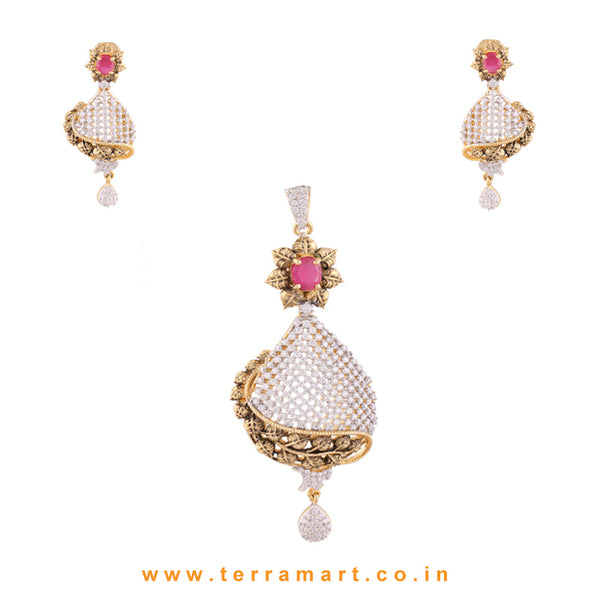 Terramart - Grand & Traditionally Designed Zircon Stone Pendent Set  for Women / Girls (Pink, White & Gold)