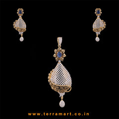 Terramart - Grand & Traditionally Designed Zircon Stone Pendent Set  for Women / Girls (Blue, White & Gold)