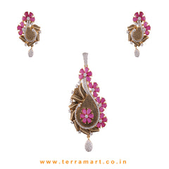 Terramart - Grand & Traditionally Designed Zircon Stone Pendent Set  for Women / Girls (Gold, Pink, White)