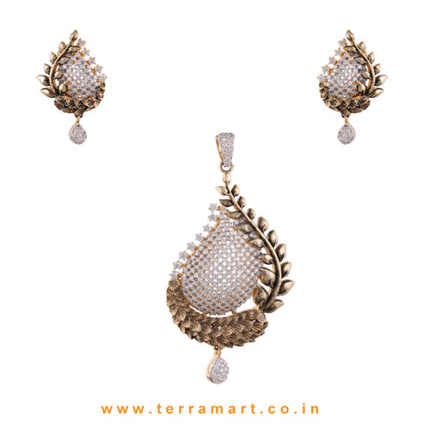 Terramart - Grand & Stylish Designed Zircon Stone Pendent Set for Women / Girls (Gold & White)