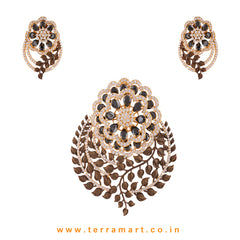 Terramart - Grand & Stylish Designed Zircon Stone Pendent Set for Girls / Women  (Gold, Black, White)