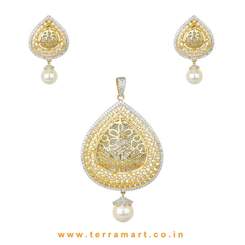 Snazzy White Zircon Stone Pendent With Pearl Drop - Terramart Jewellery