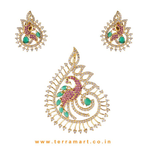 Sleek Peacock Designed Zircon Pendent at White, Pink & Green Stone - Terramart Jewellery