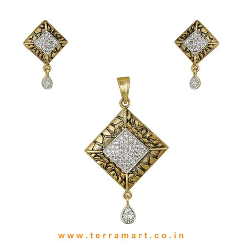 Diamond Shaped White Zircon Stone Pendent With Earring - Terramart Jewellery