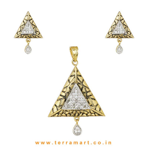 Triangle Shaped Zircon Stone Pendent Set  - Terramart Jewellery