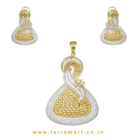 Mesmerizing Antique Style White Zircon Stone Pendent  - Terramart Jewellery