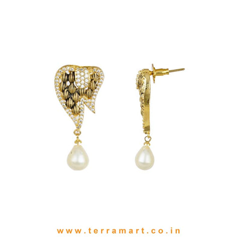 White Zircon Stoned Antique Look Alloy Pendent Set - Terramart Jewellery