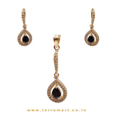 Black & White Zircon Stone Pendent With Hook Earrings - Terramart Jewellery