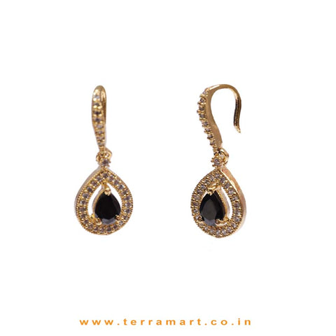 Black & White Zircon Stone Pendent With Hook Earrings