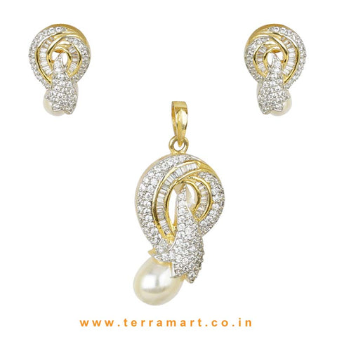 Likeable Floral White Zircon Stone Pendent Set With Pearl - Terramart Jewellery