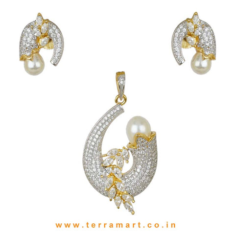 Terramart - Grand and Stylish Designed Zircon Stone Pendent Set with Pearl for Women / Girls (white - gold)