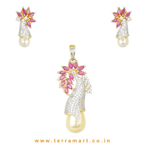 Terramart - Stylish & Grand Designed Zircon Stone Pendent Set with Pearl for Women / Girls (white, pink, gold)