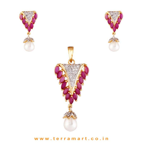 Admirable White & Pink Zircon Stone Pendent Set With Pearl