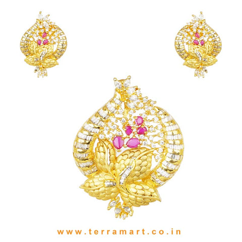 White & Pink Zircon Stoned Time-honored Alloy Pendent With Earrings - Terramart Jewellery