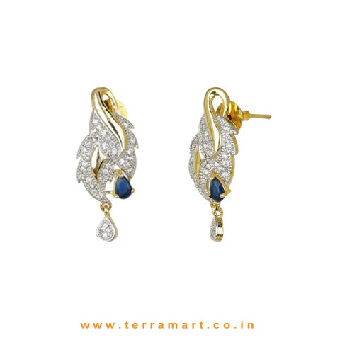 Fashionable Zircon Stone Pendent Set With Single Blue Stone