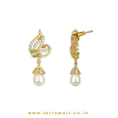 Jazzy Peacock Designed White & Green Stoned Pendent With Pearl - Terramart Jewellery