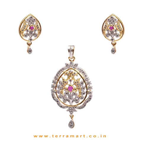 Fine Dailywear Pink & White Zircon Stone Pendent Jewellery With Earrings - Terramart Jewellery