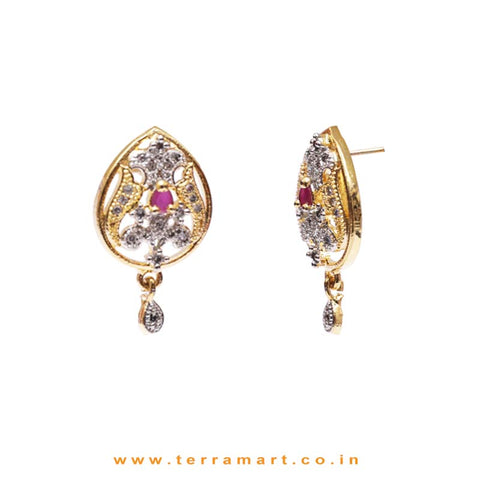 Fine Dailywear Pink & White Zircon Stone Pendent Jewellery With Earrings
