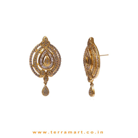Full White Zircon Stoned Gratifying Pendent Jewellery With Earrings - Terramart Jewellery
