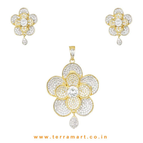 White & Gold Shaded Zircon Stone Pendent Jewellery With Earrings - Terramart Jewellery