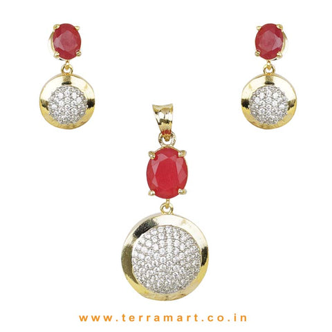 Rich Looking Pink & White Zircon Stone Pendent Set - Terramart Jewellery