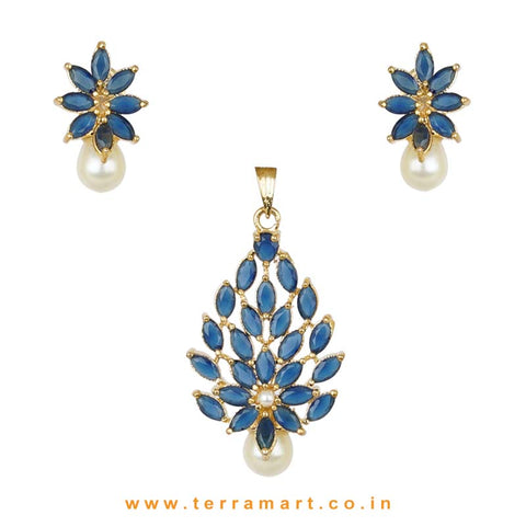 Splendid Full of Blue Zircon Stoned Pearl Drop Pendent Set