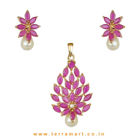 Splendid Full of Pink Zircon Stoned Pearl Drop Pendent Set