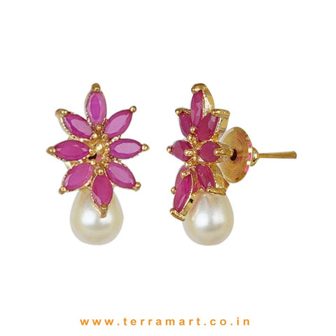 Splendid Full of Pink Zircon Stoned Pearl Drop Pendent Set - Terramart Jewellery