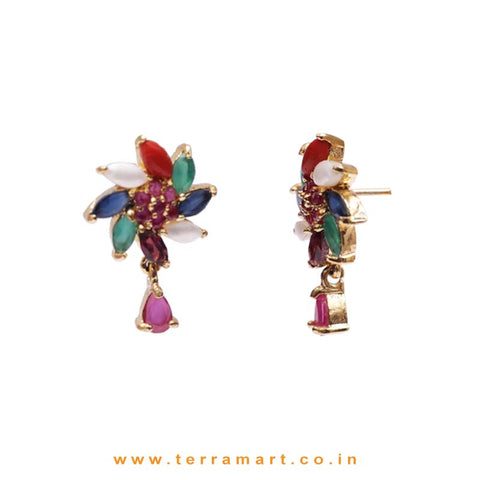 Multicolour Floral Designed Zircon Stone Pendent Set