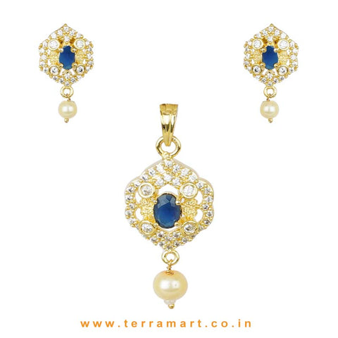 Fair White Zircon Stone Pendent Jewellry Set With Single Blue Stone - Terramart Jewellery