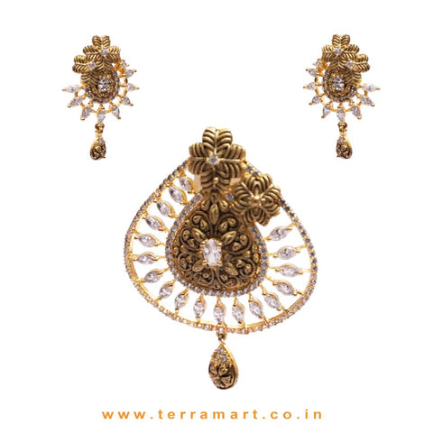 Posh Floral Designed Antique Look White Zircon Stone Pendent Set - Terramart Jewellery
