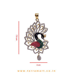 Dainty Peacock Designed Zircon Stone Pendent With Beautiful Earrings
