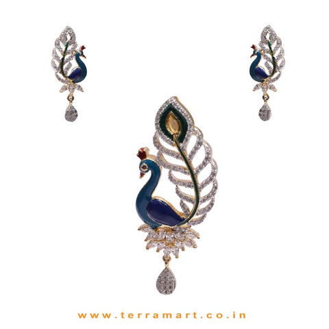 Mesmerising Peacock Designed White Zircon Stone Pendent With Enamel Work - Terramart Jewellery
