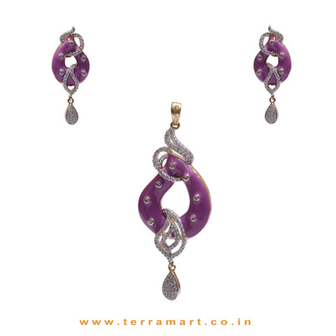 Open Drop Designed White Zircon Pendent Jewellery With Purple Enamel Work - Terramart Jewellery